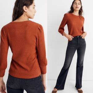 Madewell Brushed Pleat Puff Sleeve Sweater